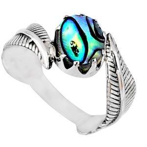 Sterling Silver Ring Genuine Abalone Paua Seashell